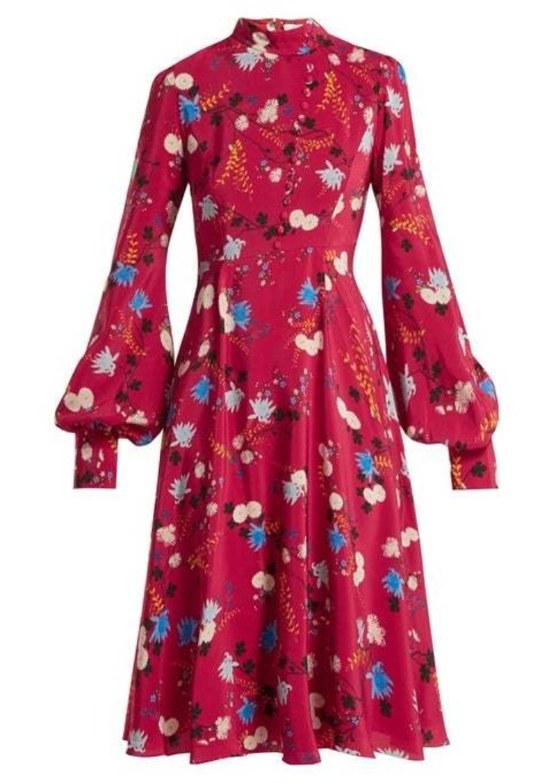 Erdem Neville Hideko-print stand-collar silk dress
