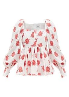 Erdem Noria balloon-sleeve rose fil coupé blouse