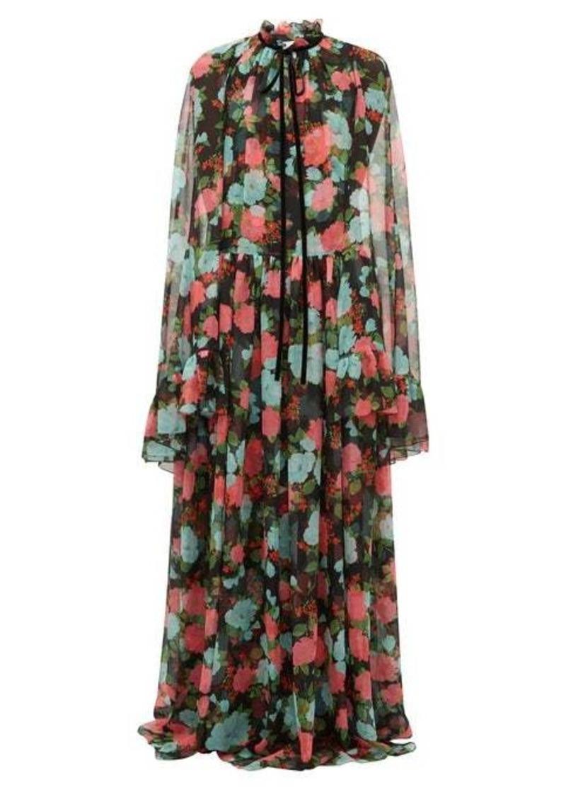 Erdem Odette floral-print cape-sleeve silk gown