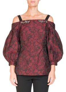 Erdem Off-the-Shoulder Bishop-Sleeve Floral-Jacquard Top with Jeweled Trim