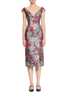 Erdem Off-the-Shoulder Floral-Brocade Pencil Cocktail Dress