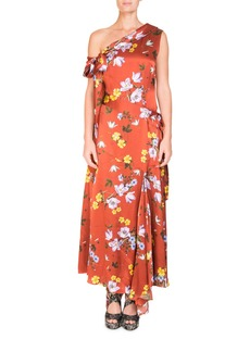 Erdem One-Shoulder Asymmetric Floral-Print Long Dress with Handkerchief Hem