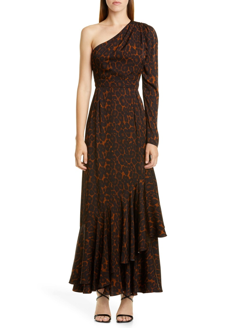 Erdem One Shoulder Tiered Hem Gown