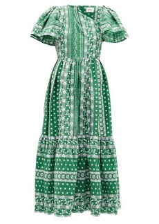 Erdem Palomina floral-embroidered cotton-poplin dress