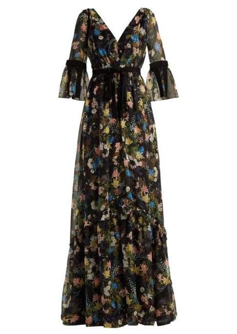 Erdem Petunia Mariko Meadow-print silk gown