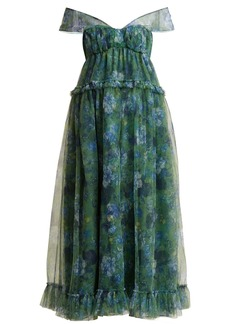 Erdem Pia Elizabeth Garden-print tulle dress