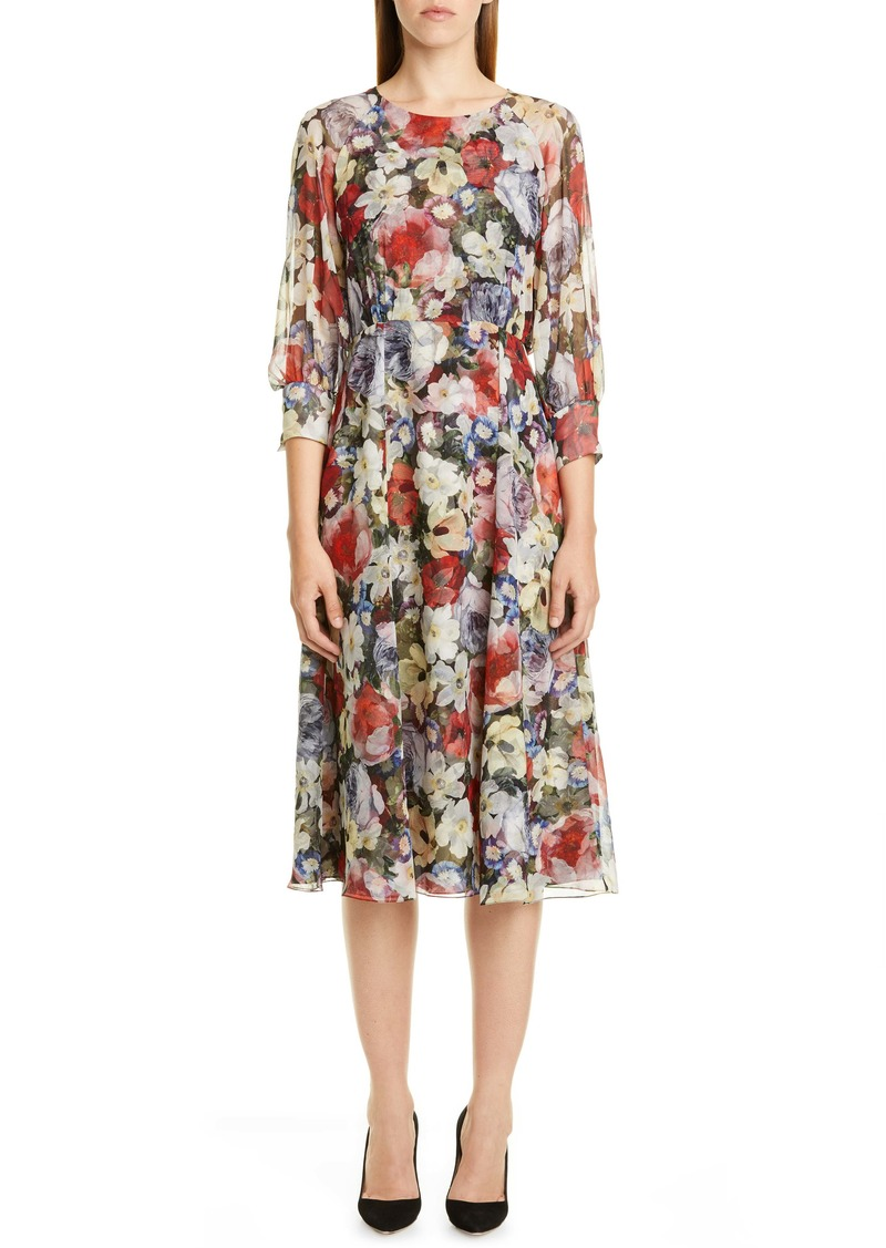 Erdem Poppy Collage Floral Silk Midi Dress