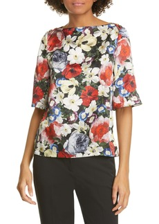 Erdem Poppy Collage Floral Silk Top