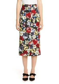 Erdem Poppy Print Button Front Midi Skirt
