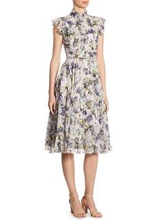 Erdem Reba Ruffled Floral-Print Silk Dress