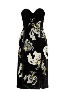 Erdem Rebecca embroidered velvet strapless dress