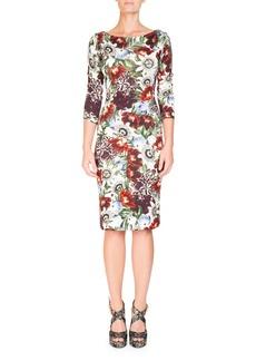 Erdem Reese Boat-Neck Rose-Print 3/4-Sleeve Sheath Day Dress