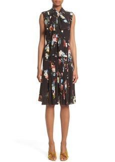 Erdem Richelle Tie Neck Floral Print Silk Crêpe de Chine Dress