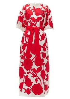 Erdem Riviera Modotti floral-appliqué silk-blend dress