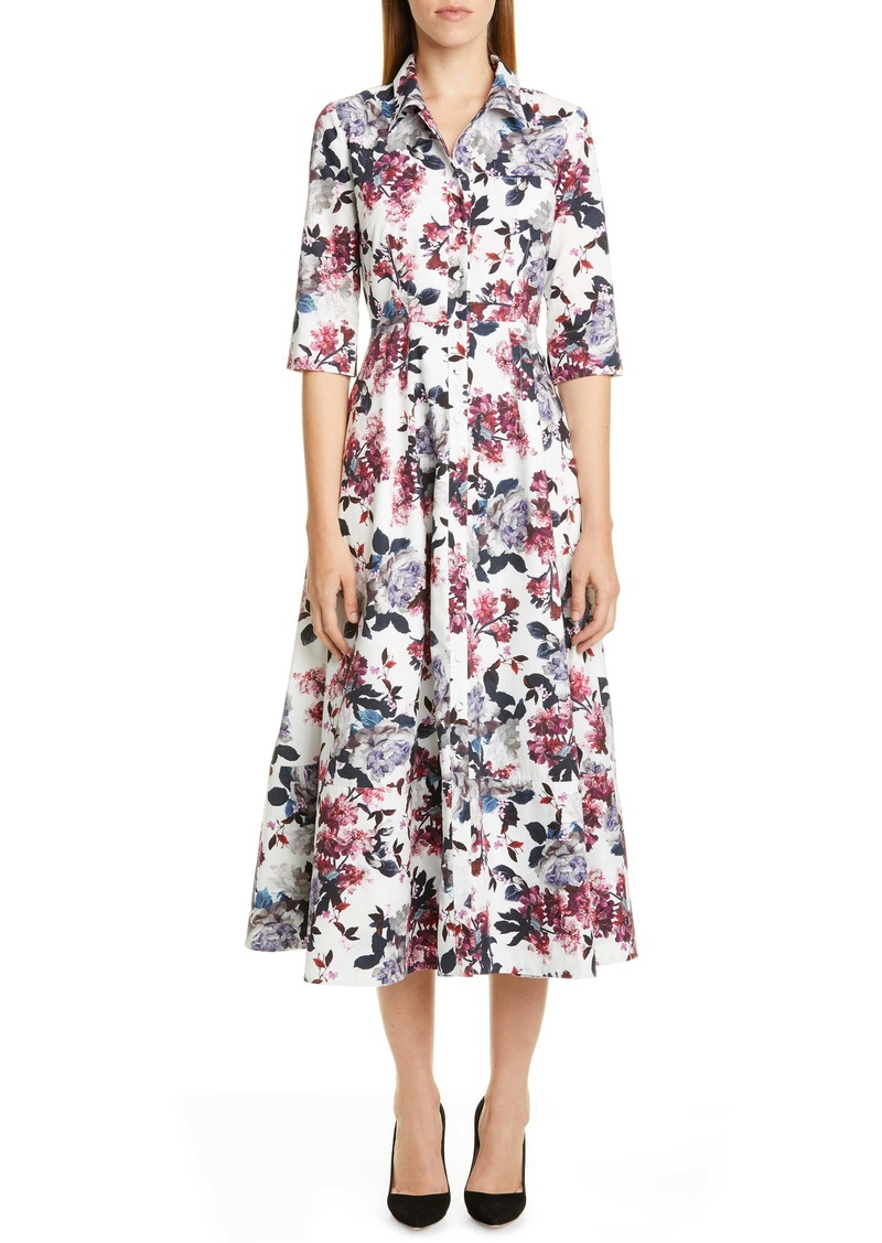 Erdem Rose Print Cotton Poplin Midi Shirtdress