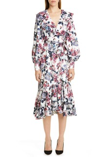 Erdem Rose Print Ruffle Long Sleeve Midi Dress