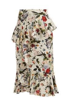 Erdem Roselia Edith-print silk skirt