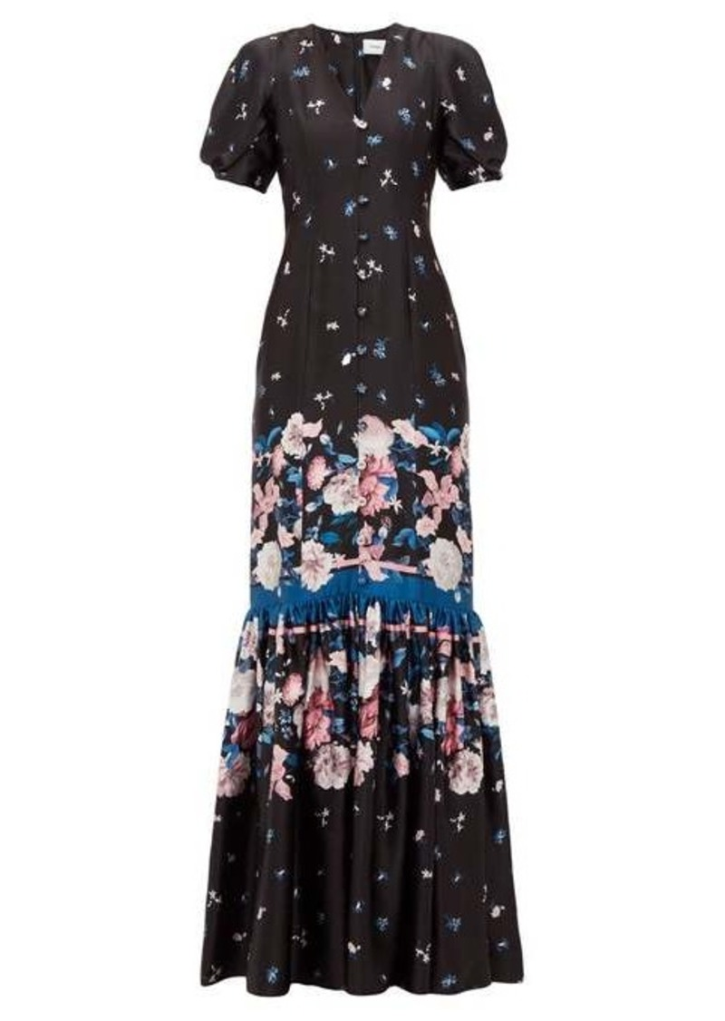 Erdem Rosetta Dusk Bouquet-print silk dress