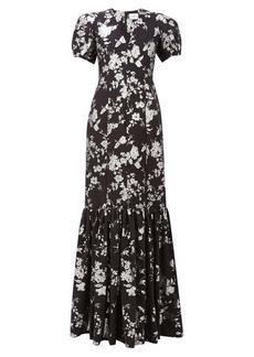 Erdem Rosetta puff-sleeved floral-brocade gown