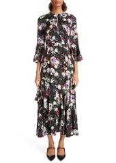 Erdem Ruffle Detail Floral Print Satin Midi Dress