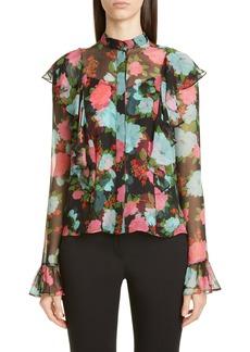 Erdem Ruffle Floral Print Silk Voile Blouse