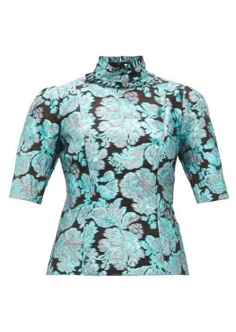 Erdem Saveria high-neck brocade silk-blend blouse