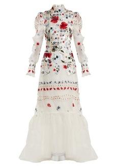 Erdem Scarlet floral-embroidered silk-organza gown