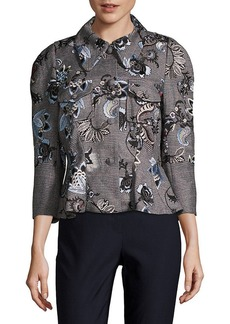 Erdem Shari Embroidered Peplum Jacket