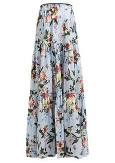 Erdem Sigrid tiered floral-print cotton maxi skirt