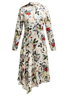 Erdem Sinclair Edith-print asymmetric silk gown