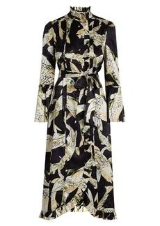 Erdem Siren Hiro Pond-print silk-satin dress