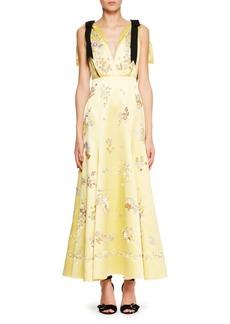 Erdem Sleeveless V-Neck Bow Detail Silk Dress with Beaded Embroidered