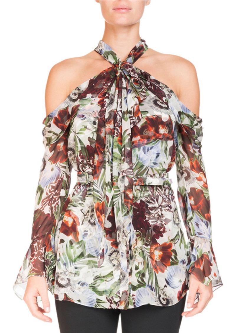 38ee9c23bc863 Erdem Erdem Surie Cold-Shoulder Halter Rose-Print Long-Sleeve Silk Blouse