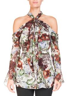 Erdem Surie Cold-Shoulder Halter Rose-Print Long-Sleeve Silk Blouse