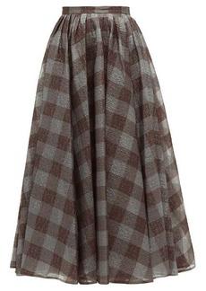 Erdem Talisa checked lamé-cloqué skirt