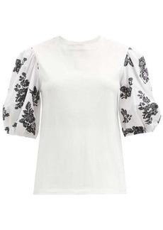 Erdem Theodora poplin-sleeve cotton-blend top
