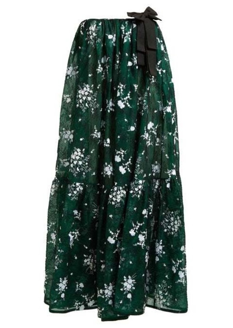 Erdem Theona tiered floral chantilly-lace gown