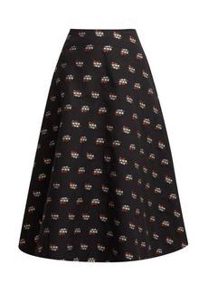 Erdem Thia floral fil-coupé cotton-blend midi skirt
