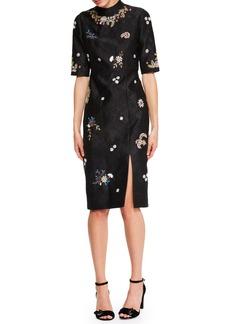 Erdem Tula Half-Sleeve Jacquard Dress with Beaded Embellishments