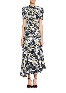 Erdem Twist-Neck Floral-Print Silk Faille Long Dress with Asymmetric Frills