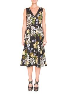 Erdem V-Neck Sleeveless Belted Floral Matelassé Midi Dress