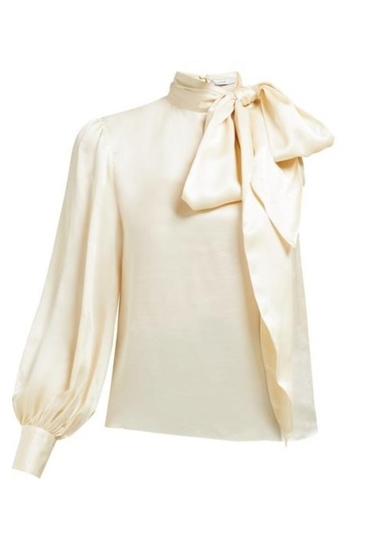 Erdem Venetia one-sleeve pussybow satin blouse
