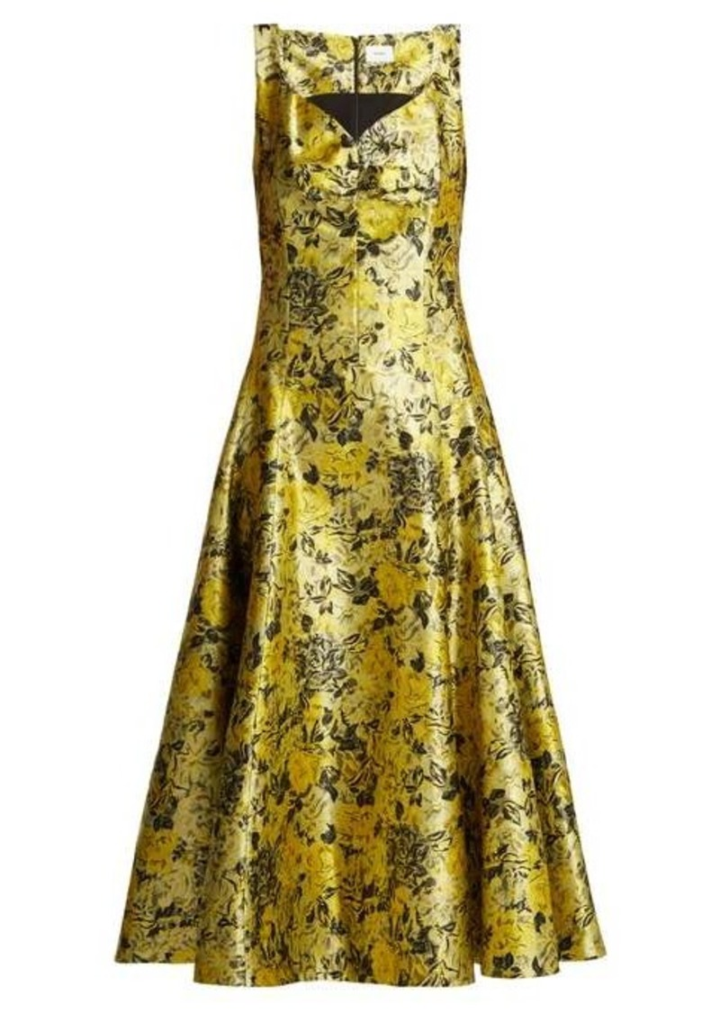 Erdem Verna rose-jacquard gown