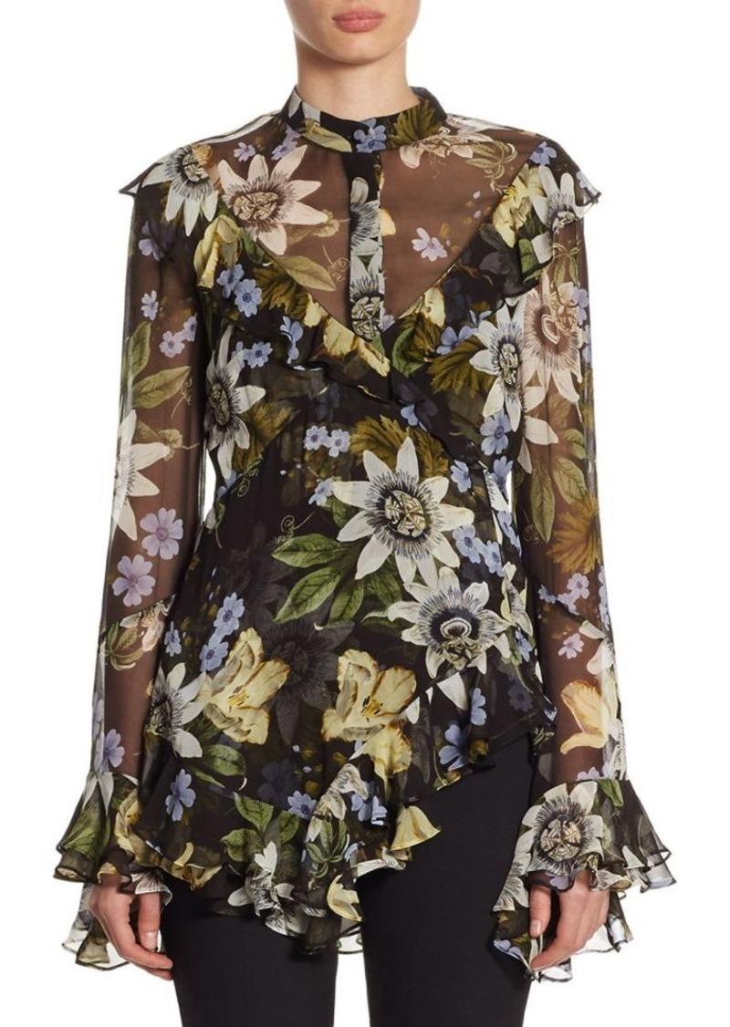e1b1b92fd2c42b Erdem Wanda Bell-Sleeve Silk Top | Casual Shirts