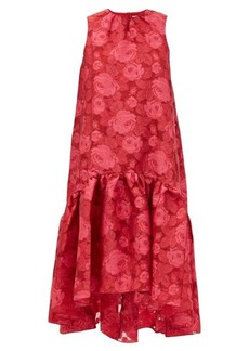 Erdem Winsloe drop-hem floral-jacquard organza dress