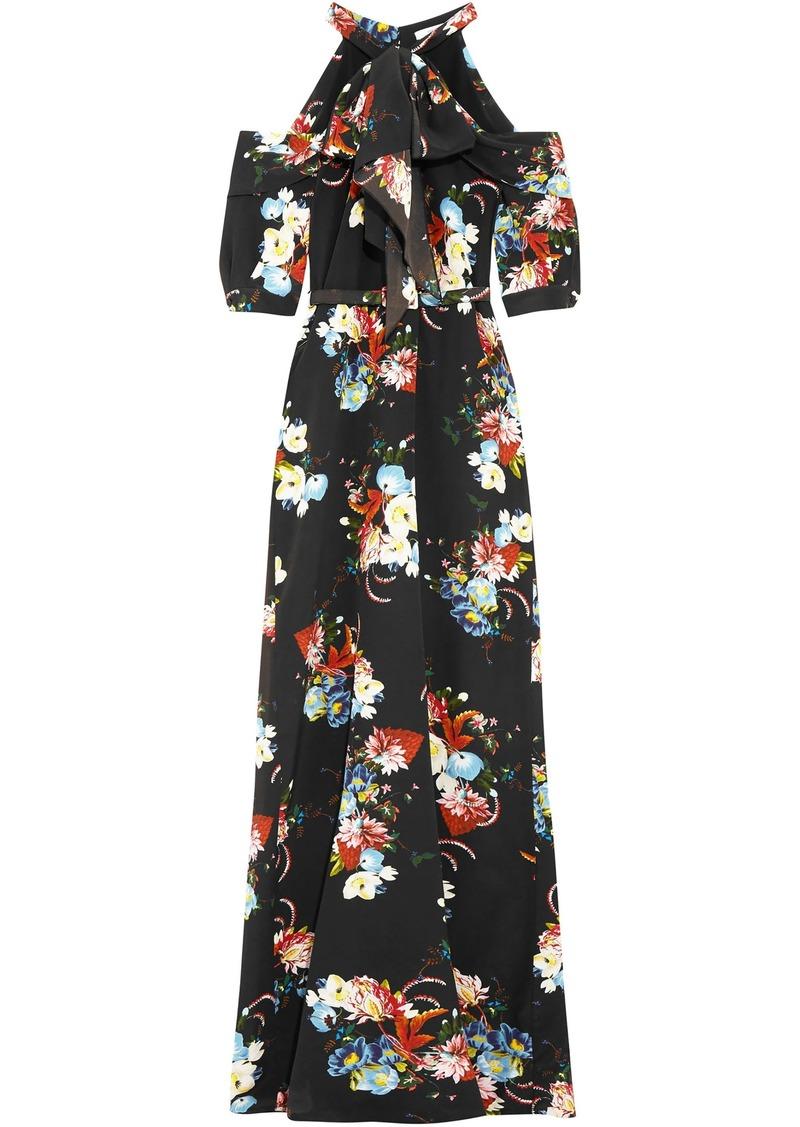 Erdem Woman Annaliese Cold-shoulder Floral-print Silk Crepe De Chine Gown Black