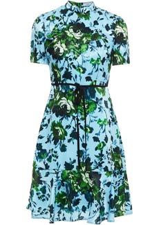 Erdem Woman Anne Bow-detailed Floral-print Satin Mini Dress Light Blue