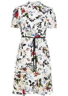 Erdem Woman Anne Bow-detailed Floral-print Satin Mini Dress White