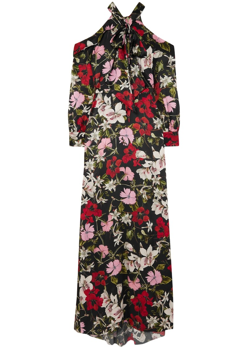 Erdem Woman Anora Cold-shoulder Floral-print Silk-satin Gown Black