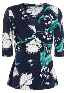 Erdem Woman Arcadia Twist-front Floral-print Stretch-jersey Top Navy